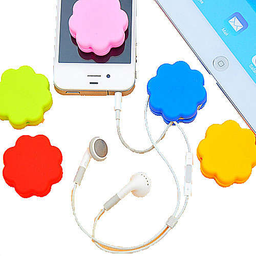 Plum Blossom Sillicone Cartoon Earphone Cable Wire Cord Organizer Cable Winder