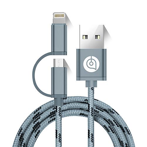 USB 2.0 Кабель, USB 2.0 to Micro USB 2.0 Lightning Кабель Male - Male 1.5M (5Ft) кабель mophie pro с коннектерами lightning to usb и usb to micro usb длина 1 2 м цвет черный