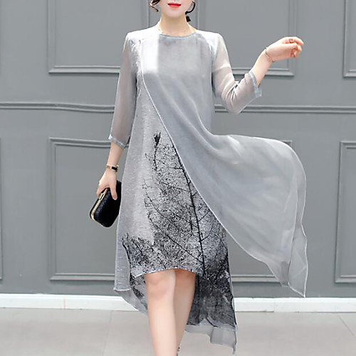 miniinthebox / Mulheres Assimétrico Tamanhos Grandes Cinzento Vestido Verão Para Noite Chifon Gráfico Multi Camadas S M