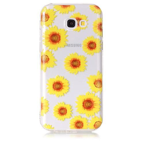Кейс для Назначение SSamsung Galaxy A5(2017) / A3(2017) Прозрачный / С узором Кейс на заднюю панель Цветы Мягкий ТПУ для A3 (2017) / A5 (2017) / A5(2016)