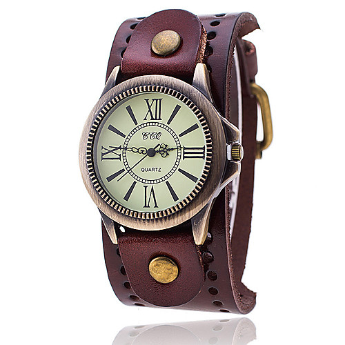 Men's Bracelet Watch Quartz Leather Black / White / Blue Casual Watch Analog Ladies Vintage Casual Fashion Elegant - Red Green Blue One Year Battery Life / SSUO LR626
