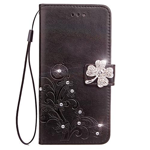 Кейс для Назначение LG G3 LG LG G5 LG G4 Бумажник для карт Кошелек Стразы со стендом Флип Рельефный Чехол Цветы Твердый Кожа PU для LG G6