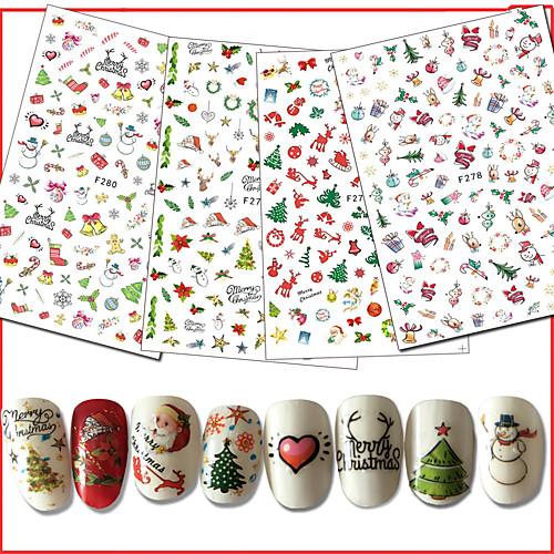 10pcs/set Рождественские украшения / Наклейка для ногтей Наклейки для ногтей / Рождество Дизайн ногтей рождественские украшения oem 20