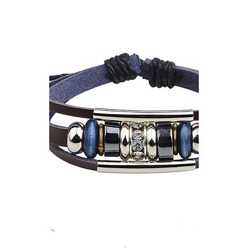 Муж. Кожа Кожаные браслеты Strand Браслеты - Ручная Pабота Регулируется Круглый Черный Коричневый Браслеты Назначение Повседневные браслеты
