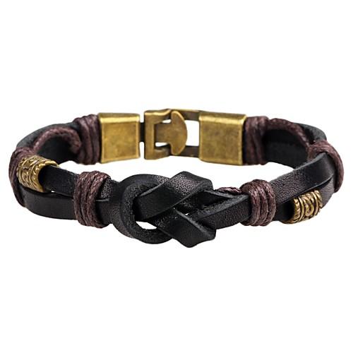 Муж. / Жен. Кожаные браслеты - Кожа Панк, Мода Браслеты Черный / Коричневый Назначение Повседневные муж бижутерия кожаные браслеты кожа коричневый