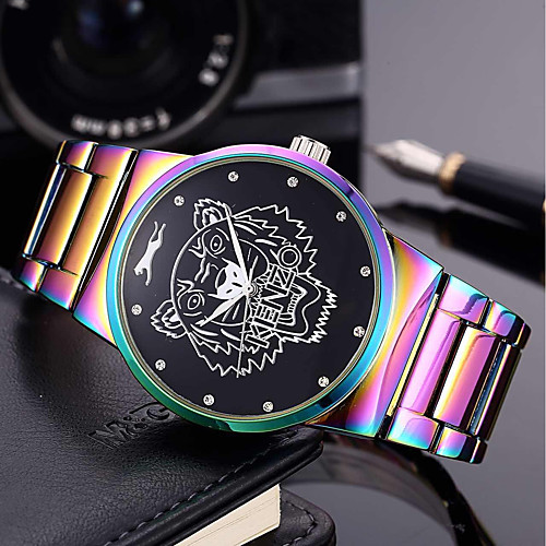 Men's Women's Bracelet Watch Wrist Watch Quartz Stainless Steel Green / Purple 30 m Creative Cool Punk Analog Charm Luxury Casual Rainbow Bangle - Green Blue / Purple Two Years Battery Life