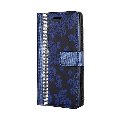 Кейс для Назначение Sony Sony Xperia XA Sony Xperia X Бумажник для карт Кошелек Стразы со стендом Флип Чехол Цветы Твердый Кожа PU для