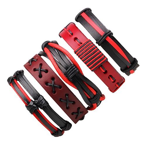 Муж. / Жен. Wrap Браслеты / Кожаные браслеты - Кожа Богемные Браслеты Красный Назначение Подарок / На выход муж жен wrap браслеты кожаные браслеты кожа богемные браслеты красный назначение подарок на выход