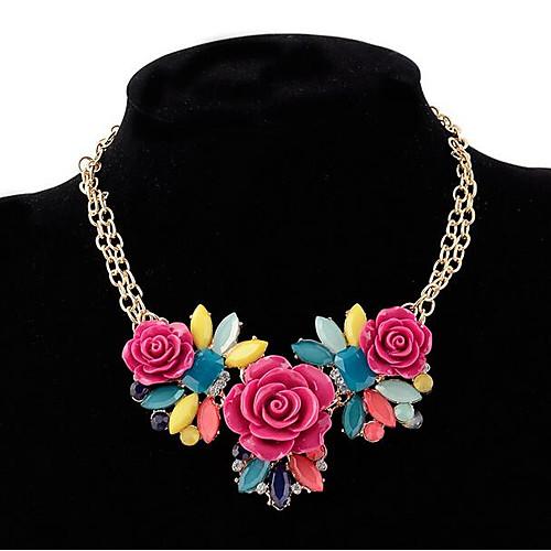 Жен. Заявление ожерелья - Резина Цветы и растения, В форме листа, Цветы Дамы, Богемные, Богемный Лиловый, Желтый Ожерелье Бижутерия Назначение Для вечеринок, Праздники