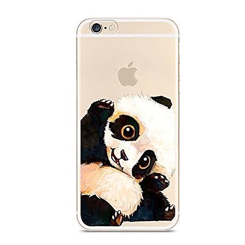 Кейс для Назначение Apple iPhone 7 Plus iPhone 7 Ультратонкий Полупрозрачный С узором Кейс на заднюю панель Панда Животное Мягкий ТПУ для детская футболка классическая унисекс printio король панда