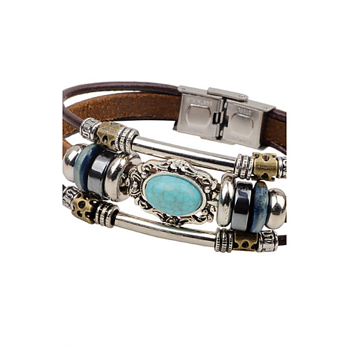 7c6c5d248e570 Men's Turquoise woven Leather Bracelet Leather Personalized Vintage  Bracelet Jewelry Black / Brown For Casual Stage