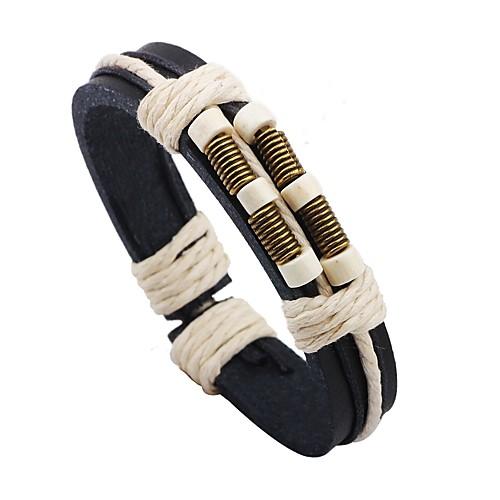 Муж. Кожаные браслеты - Кожа Мода Браслеты Черный / Кофейный Назначение Для сцены / Для улицы муж жен strand браслеты магнитные браслеты свисающие природа простой стиль мода браслеты черный назначение повседневные для улицы