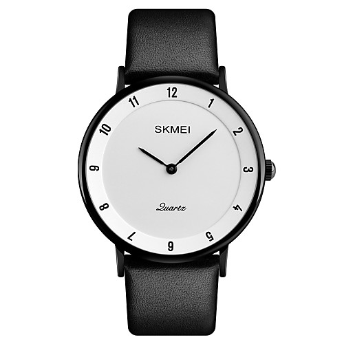 SKMEI Men's Wrist Watch Japanese Quartz Leather Black 30 m Water Resistant / Waterproof Calendar / date / day Cool Analog Luxury Classic Fashion Elegant - Black / White Black / Gray White / Silver