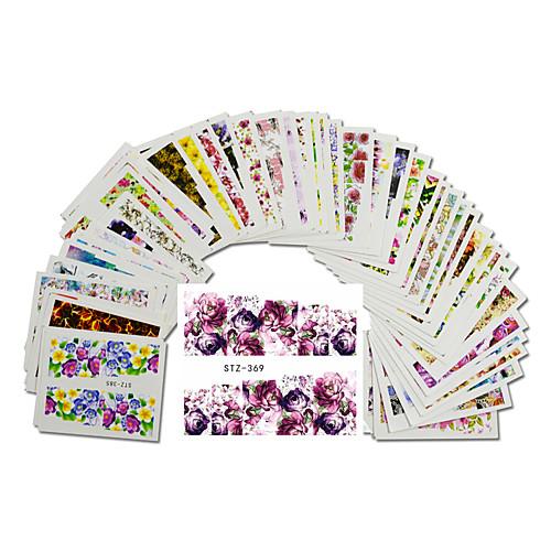 48pcs/set Цветы / Наклейки для ногтей Наклейка для переноса воды / Наклейка для ногтей Наклейки бады здоровье и красота а нематод для внутренней гигиены противогельминтный