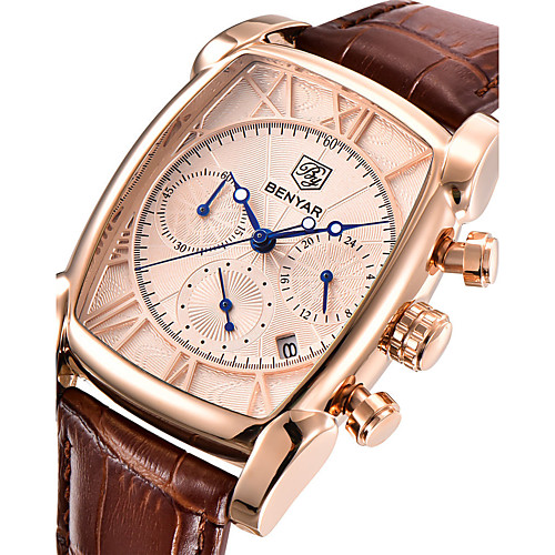 Men's Wrist Watch Japanese Quartz Genuine Leather Brown 30 m Calendar / date / day Stopwatch Cool Analog Luxury Casual Fashion - White Rose Gold
