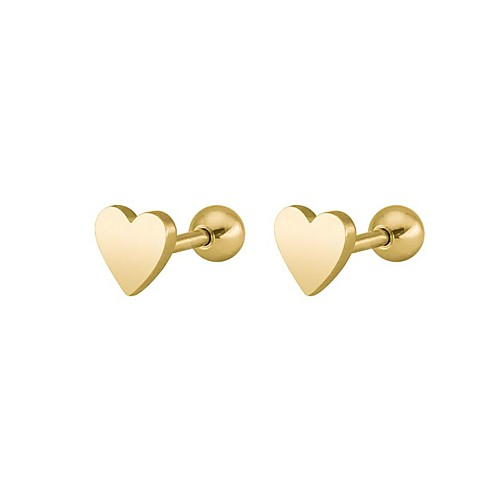 Men's Women's flat back Stud Earrings Earrings Heart Hip-Hop Jewelry Gold / Black / Silver For Wedding Party Stage Masquerade Engagement Party Prom