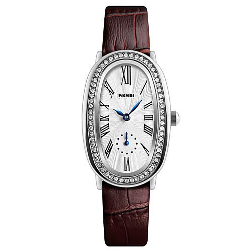 SKMEI Жен. Наручные часы Diamond Watch Японский Кварцевый Кожа Черный / Белый / Красный 30 m Защита от влаги Cool Аналоговый Дамы Роскошь Мода Элегантный стиль - Черный Коричневый Красный
