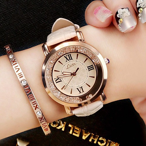 Women's Ladies Wrist Watch Quartz Quilted PU Leather Black / White / Blue Analog Luxury Sparkle Vintage Casual Fashion - Red Blue Pink One Year Battery Life / SSUO 377