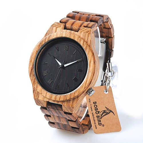 Men's Wrist Watch Quartz Wood Brown Water Resistant / Waterproof Chronograph Analog Charm Luxury Casual Fashion Elegant - Black