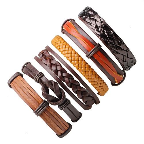 Муж. Жен. Кожа Богемные Кожаные браслеты Wrap Браслеты - Богемные Мода Круглый нерегулярный Кофейный Браслеты Назначение Подарок На выход браслеты