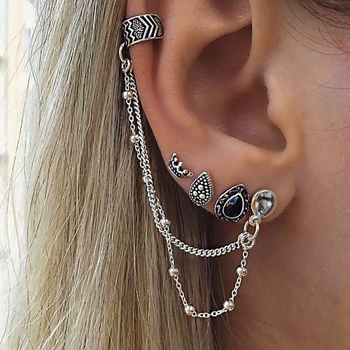 Women's cuff Clip on Earring Mismatch Earrings Earrings Drop Crown Personalized Vintage Bohemian Jewelry Silver For Gift Casual Evening Party Street