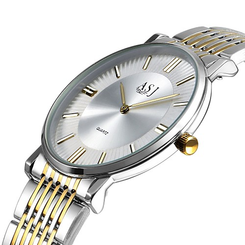 ASJ Men's Wrist Watch Japanese Quartz Stainless Steel Silver 30 m Large Dial Analog Classic Casual Fashion Elegant Minimalist - Silver White / Gold One Year Battery Life / SSUO LR626