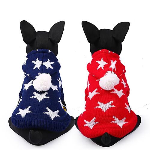 Собака Свитера Одежда для собак Звезды Красный Синий Чинлон Костюм Для домашних животных На каждый день