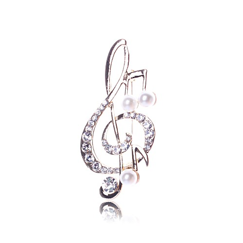 Women's Brooches Imitation Pearl Music Notes Ladies Brooch Jewelry Gold For Daily Going out