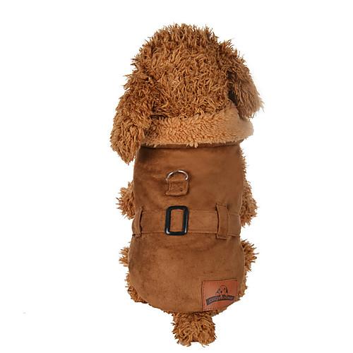 Собака Плащи Одежда для собак Однотонный Коричневый Полиэстер Костюм Для домашних животных Муж. Жен. На каждый день кошка собака свитера одежда для собак однотонный коричневый сукно костюм для домашних животных муж жен