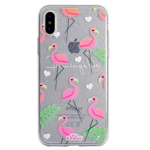 Case For Apple iPhone X / iPhone 8 / iPhone 8 Plus Transparent / Pattern Back Cover Flamingo / Glitter Shine Soft TPU for iPhone X / iPhone 8 Plus / iPhone 8