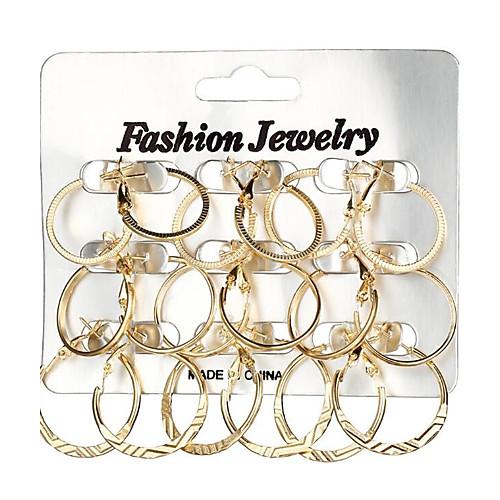 Women's Geometrical Hoop Earrings Earrings Ladies Geometric Fashion Jewelry Gold / Silver For Gift Daily 18pcs