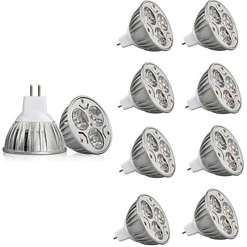 10 шт. 3W 250lm MR16 Точечное LED освещение 3 Светодиодные бусины Высокомощный LED Декоративная Тёплый белый / Холодный белый 12V / RoHs лампы освещение