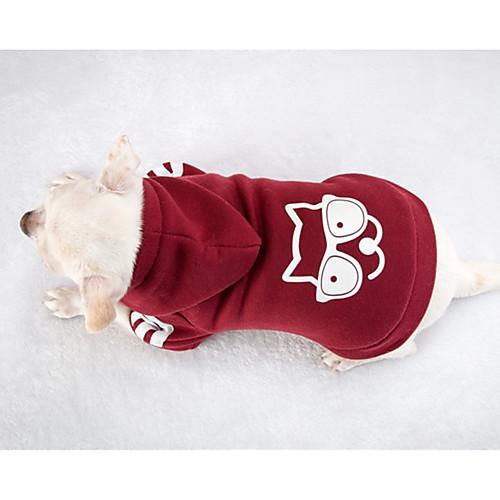 Собака Толстовки Одежда для собак Однотонный Красный Хлопок Костюм Назначение Зима На каждый день