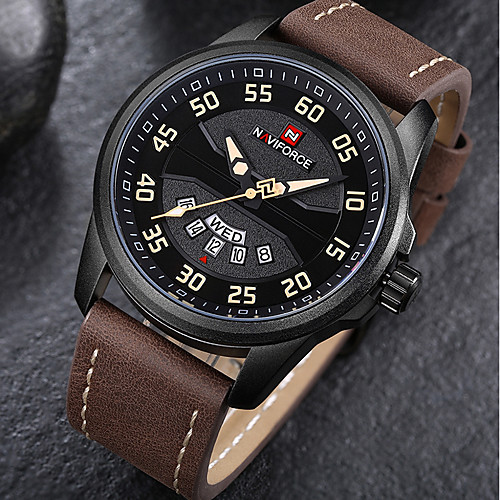 Men's Sport Watch Military Watch Wrist Watch Japanese Quartz Genuine Leather Black / Brown 30 m Water Resistant / Waterproof Calendar / date / day Chronograph Analog Luxury Vintage Casual Elegant -