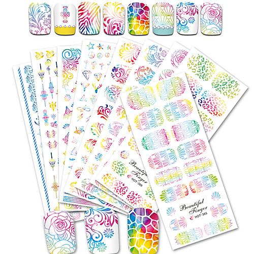 12pcs/set Наклейка для переноса воды / Наклейка для ногтей Наклейки для ногтей / Аксессуары для инструментов Nail Art DIY Наклейки / Дизайн ногтей наклейки для ногтей f9s 12 56754