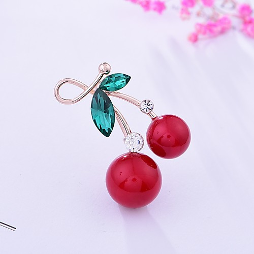 Women's Brooches Rhinestone Cherry Ladies Basic Sweet Brooch Jewelry Gold For Gift Going out