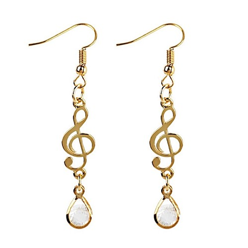 Women's Cubic Zirconia Long Drop Earrings Zircon Earrings Music Notes Ladies Classic Fashion Jewelry Gold For Daily