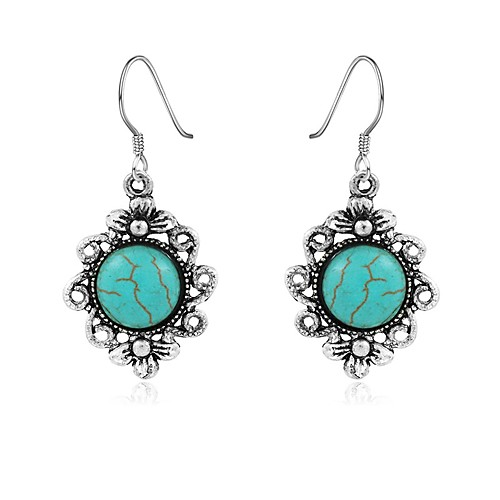 Women's Turquoise Drop Earrings Chandelier Flower Vintage Bohemian western style Turquoise Earrings Jewelry Silver For Daily
