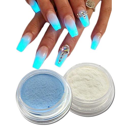 2 pcs Акриловый порошок / Гель для ногтей Блеск и сияние / Светящийся Дизайн ногтей