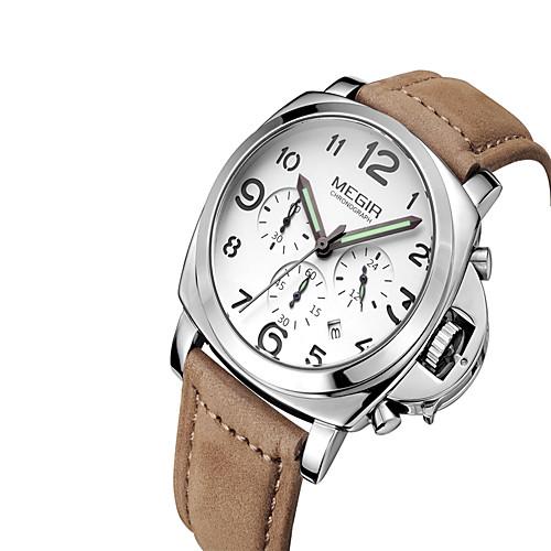 MEGIR Men's Wrist Watch Quartz Leather Black / Brown Calendar / date / day Luminous Cool Analog Classic Casual Fashion - White Black Coffee