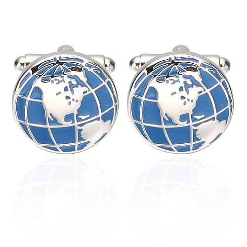 Cufflinks Globe Ethnic Brooch Jewelry Blue For Holiday