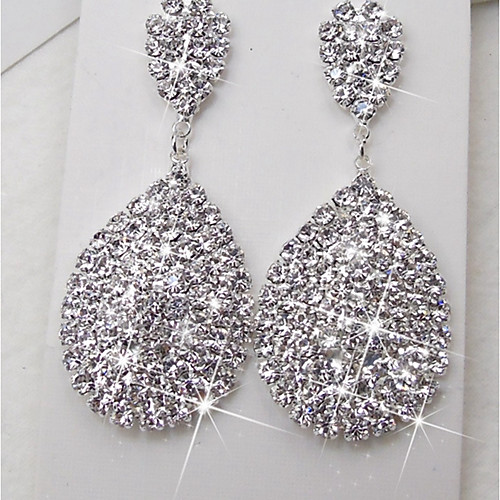 Women's Drop Earrings Rhinestone Earrings stardust Statement Ladies Elegant Bling Bling Jewelry Silver For Wedding Ceremony Stage Masquerade Engagement Party Prom
