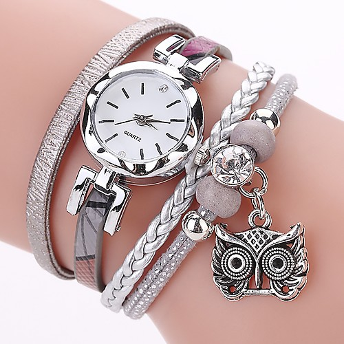 Women's Ladies Bracelet Watch Simulated Diamond Watch Diamond Watch Quartz Wrap Quilted PU Leather Black / White / Blue Imitation Diamond Analog Casual Bohemian Fashion - Gray Pink Light Blue One