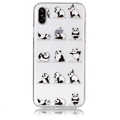 Кейс для Назначение Apple iPhone X iPhone 8 Ультратонкий Прозрачный С узором Рельефный Кейс на заднюю панель Панда Мягкий ТПУ для iPhone детская футболка классическая унисекс printio король панда