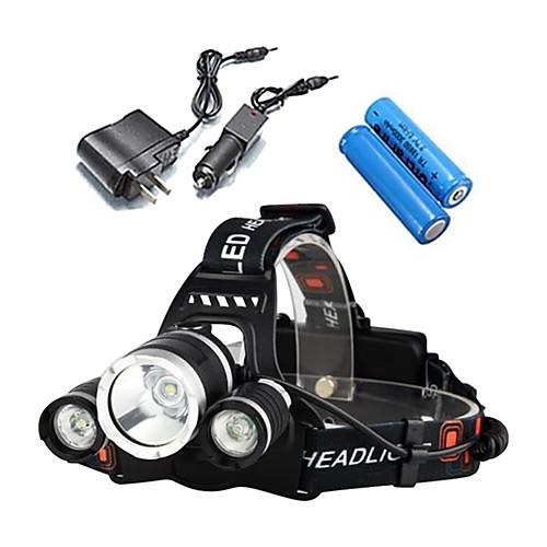 LS052 Налобные фонари / Велосипедные фары Светодиодная лампа 3000lm 4.0 Режим освещения с батарейками и зарядными устройствами
