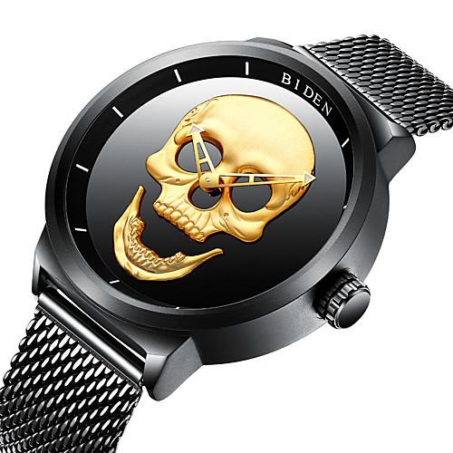 BIDEN Men's Wrist Watch Quartz Stainless Steel Black 30 m Water Resistant / Waterproof Cool Skull Analog Vintage Casual Fashion Cool - Gold Black