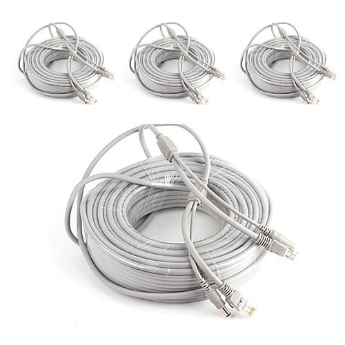 Кабели 4PCS 66ft CCTV RJ45 Video Network Cable DC Power Camera Extension для Безопасность системы 2000cm 1.7kg