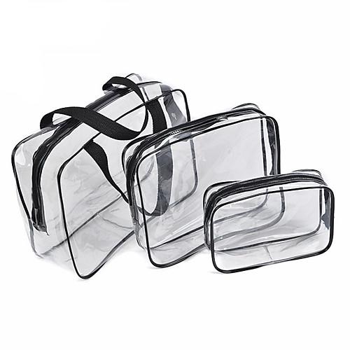 3Pcs Cosmetic Bag Set Transparent Beauty Bag Waterproof Handbags Wash Bags Ladies Make Up