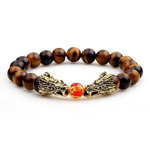 Men's Onyx Bead Bracelet Good Luck Bracelet Asian Bracelet Jewelry White / Black / Brown For Evening Party Street