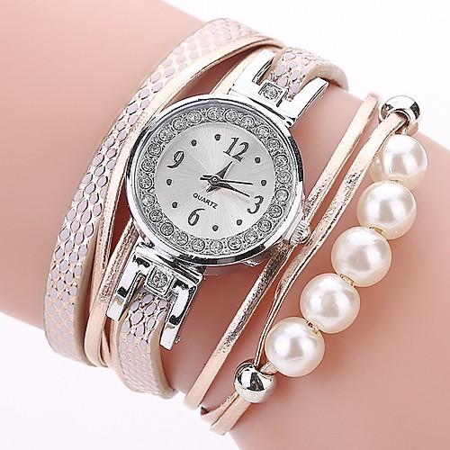 Women's Bracelet Watch Simulated Diamond Watch Diamond Watch Quartz Quilted PU Leather Black / White / Blue Imitation Diamond Analog Ladies Casual Bohemian Fashion - Orange Blue Pink One Year Battery
